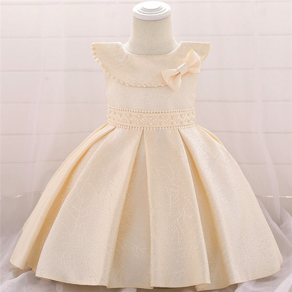 NewBorn Beaded Pleated Tutu Baby Girls Dresses Lovely Party Birthday Princess Dress Girls Baptism Evening Summer Dress L1905XZ