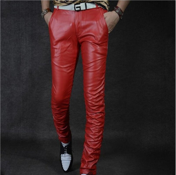 New Arrival Mens Trousers Casual Pu Leather Male Trousers Motorcycle Skinny Pants Streetwear Slim Fit Male Pants Plus Size