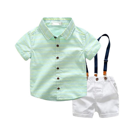 baby boy clothes 2-7T kids Bow Tie Costume Birthday party Cotton Light green shirt + strap shorts gentleman suit