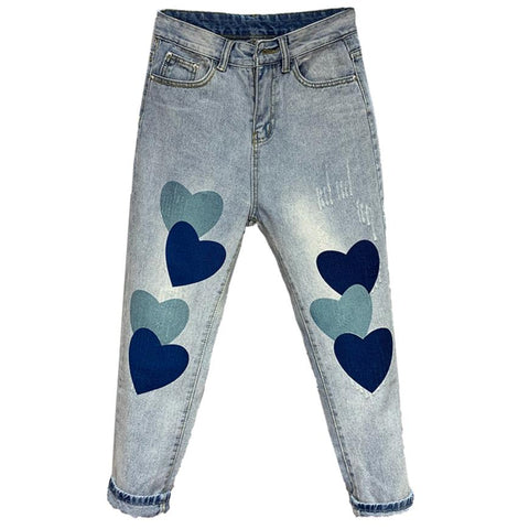 Spring summer new jeans women love printed loose jeans fashion washed straight jeans
