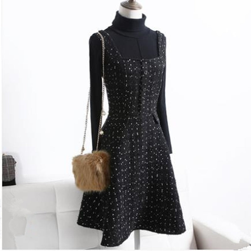 Small fragrance temperament winter thickening slim tweed woolen strap dress women