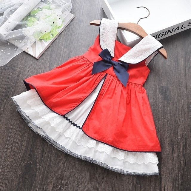 Baby Red Dress For Girls Christmas Summer Princess Cotton Vintage Lace Fashion Kids Dresses For Party Children Holiday