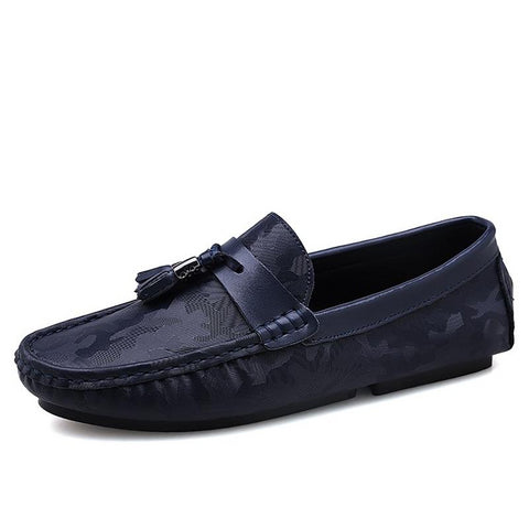 Fashion Camo Tassel Loafers for Man Summer Breathable Slip-on Flats Boat Shoes Mens Leather Moccasins Chaussures