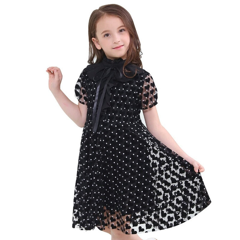Teenage Girls Black Dresses Fashion Summer Children Short Sleeve Dress