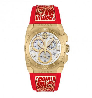 Savoy Icon Light Chrono 35mm Swiss Made Ladies Watch Yellow Gold IP enamel accents – Red