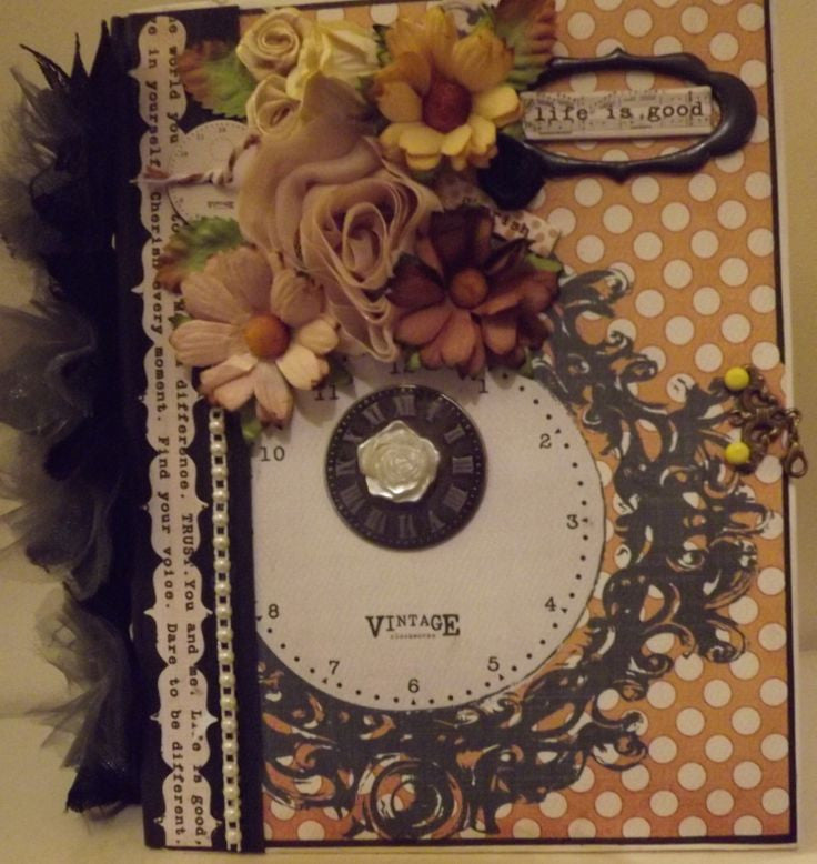 Mixing Pocket Pages with Scrapbook Pages and Vintage Floral Paper