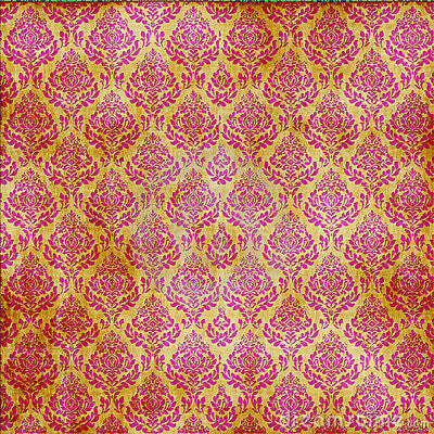 Pink and Gold Damask Paper
