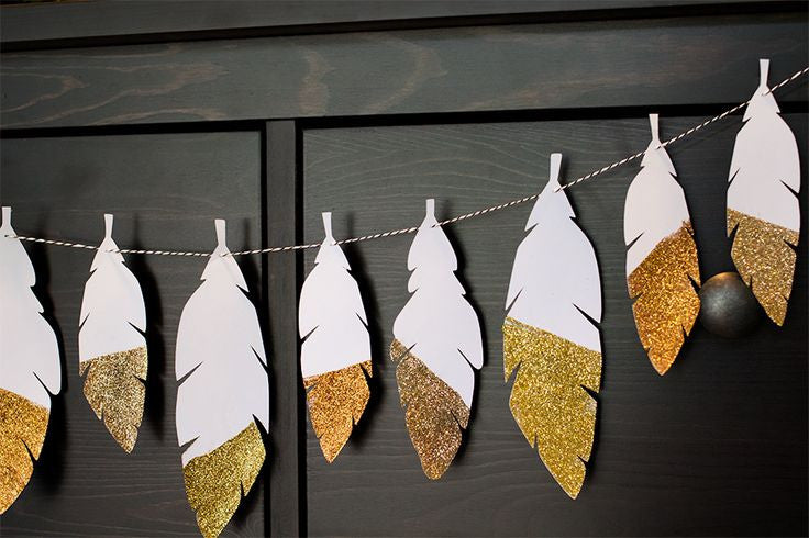 Using Gold Glitter Card to Make Thanksgiving Feather Place Cards