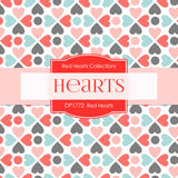 Red Hearts Digital Paper DP1772 - Digital Paper Shop - 2