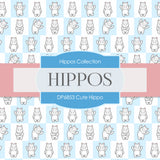 Cute Hippo Digital Paper DP6853