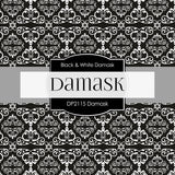 Black & White Damask Digital Paper DP2115 - Digital Paper Shop - 2