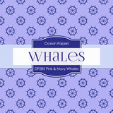 Pink and Navy Whales Digital Paper DP285 - Digital Paper Shop - 3