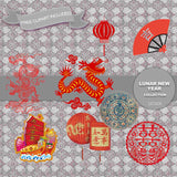 Lunar New Year Digital Paper DP3208 - Digital Paper Shop - 4