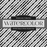 Black White Watercolor Digital Paper DP3337