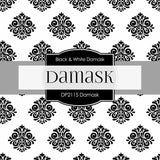 Black & White Damask Digital Paper DP2115 - Digital Paper Shop - 4