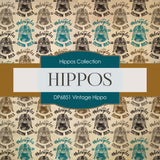 Vintage Hippo Digital Paper DP6851