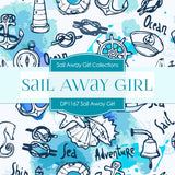 Sail Away Girl Digital Paper DP1167 - Digital Paper Shop - 4