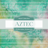 Aztec Watercolor Digital Paper DP456 - Digital Paper Shop - 2