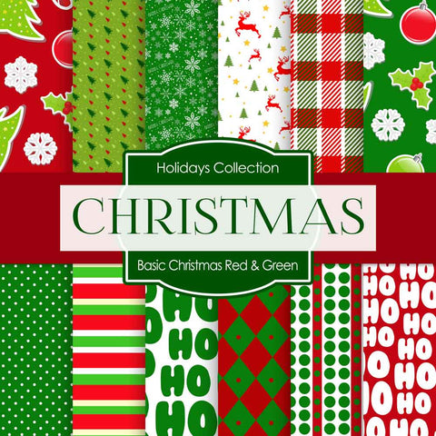 Basic Christmas Red Green Digital Paper DP4027A - Digital Paper Shop - 1