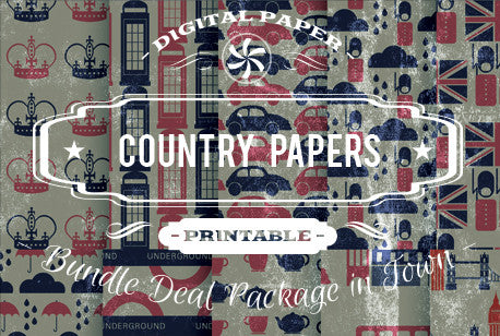 Digital Papers - Country Papers Bundle Deal - Digital Paper Shop