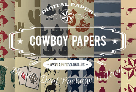 Digital Papers - Cowboy Papers Bundle Deal - Digital Paper Shop