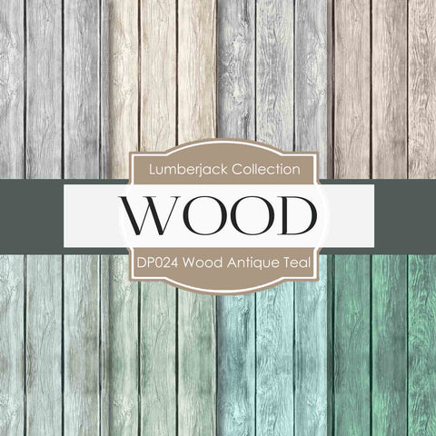 Wood Antique Teal Digital Paper DP024 - Digital Paper Shop - 1
