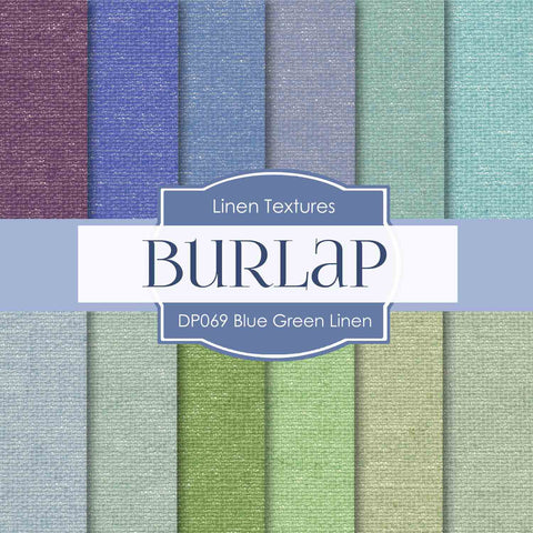 Blue Green Linen Digital Paper DP069 - Digital Paper Shop - 1