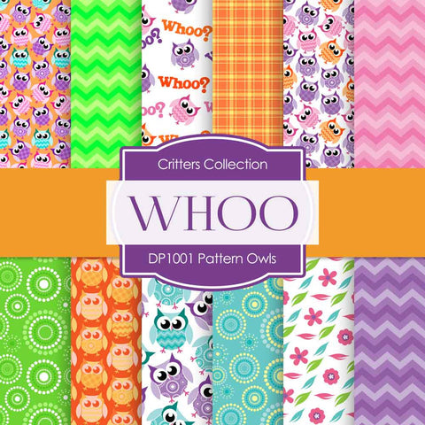 Pattern Owls Digital Paper DP1001A - Digital Paper Shop - 1