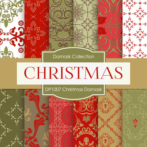 Christmas Damask Digital Paper DP1007 - Digital Paper Shop - 1
