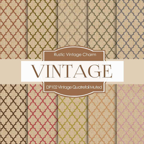 Vintage Quatrefoil Digital Paper DP102 - Digital Paper Shop - 1