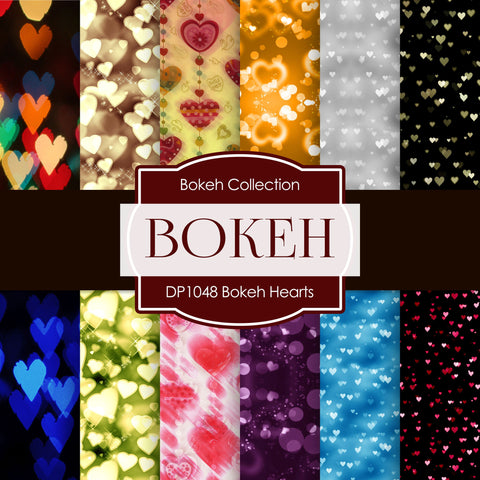 Bokeh Hearts Digital Paper DP1048 - Digital Paper Shop - 1