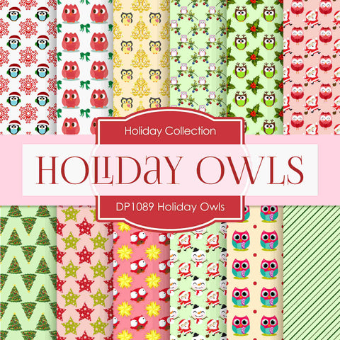 Holiday Owls Digital Paper DP1089 - Digital Paper Shop - 1