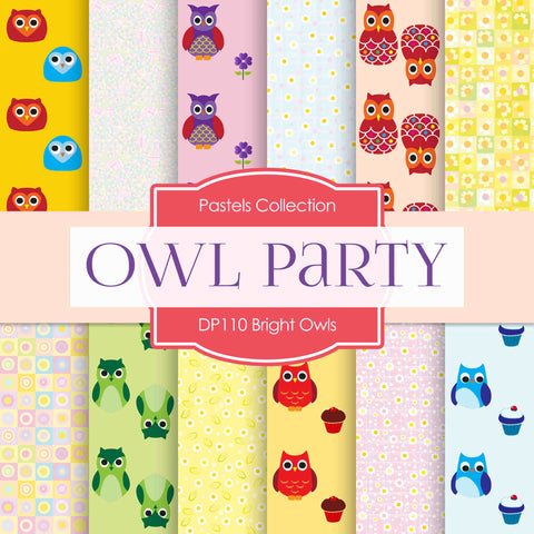 Bright Owls Party Digital Paper DP110 - Digital Paper Shop - 1