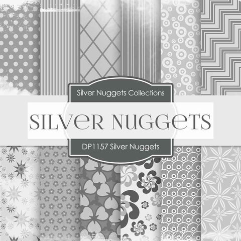 Silver Nuggets Digital Paper DP1157 - Digital Paper Shop - 1