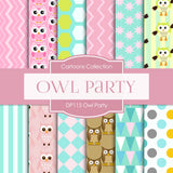Owl Party Digital Paper DP115 - Digital Paper Shop - 1