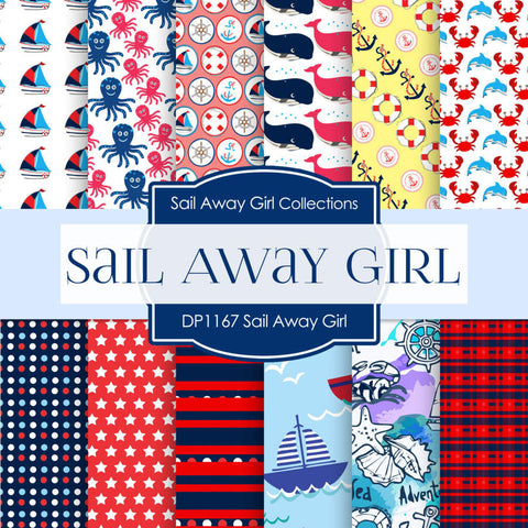 Sail Away Girl Digital Paper DP1167 - Digital Paper Shop - 1