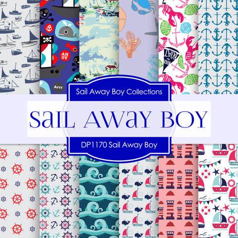 Sail Away Boy Digital Paper DP1170 - Digital Paper Shop - 1