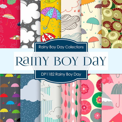 Rainy Boy Day Digital Paper DP1182 - Digital Paper Shop - 1