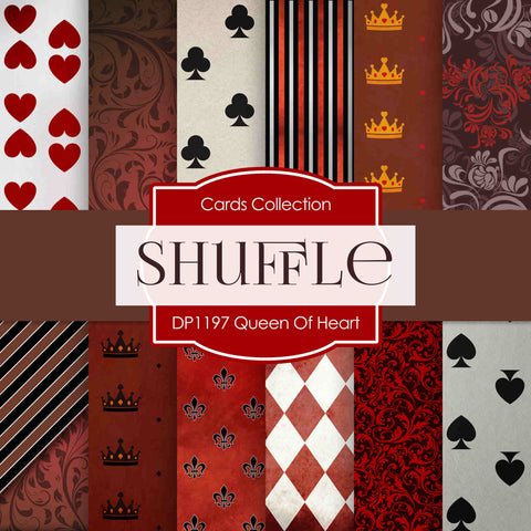Queen of Hearts Digital Paper DP1197 - Digital Paper Shop - 1