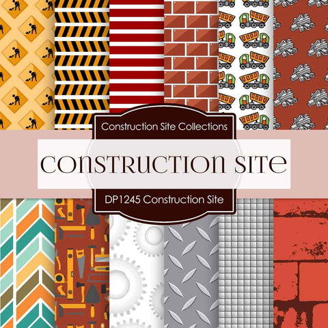 Construction Site Digital Paper DP1245 - Digital Paper Shop - 1