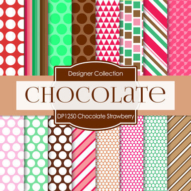Chocolate Strawberry Digital Paper DP1250 - Digital Paper Shop - 1