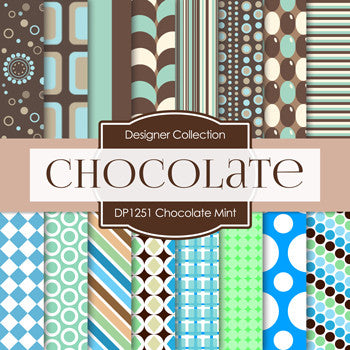 Chocolate Mint Digital Paper DP1251 - Digital Paper Shop - 1