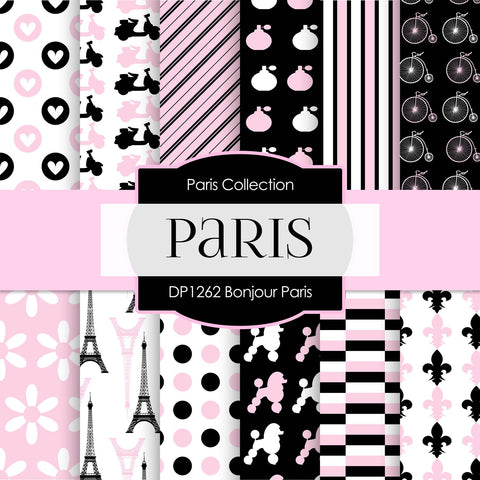 Bonjour Paris Digital Paper DP1262A - Digital Paper Shop - 1