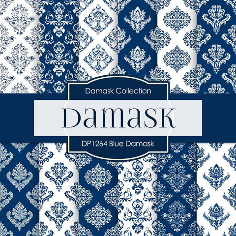 Blue Damask Digital Paper DP1264 - Digital Paper Shop - 1