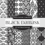 Black Damask Digital Paper DP1267 - Digital Paper Shop - 1