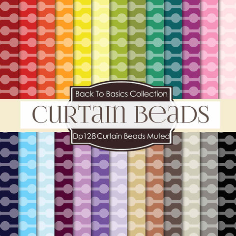 Curtain Beads Muted Digital Paper DP128 - Digital Paper Shop - 1