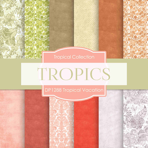 Tropical Vacation Digital Paper DP1288 - Digital Paper Shop - 1