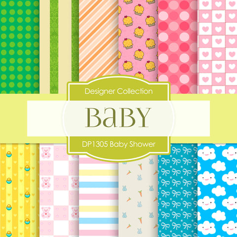 Baby Shower Digital Paper DP1305A - Digital Paper Shop - 1