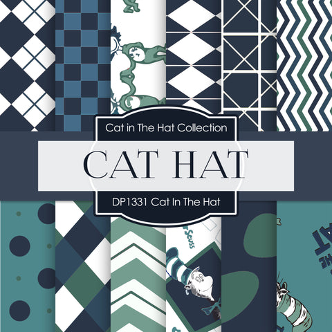 Cat In The Hat Digital Paper DP1331 - Digital Paper Shop - 1