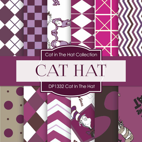 Cat In The Hat Digital Paper DP1332 - Digital Paper Shop - 1